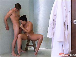 Alison Tyler caught showering then snatch poked