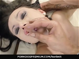 HER restrain thick bosoms stunner takes hefty man sausage in gaped butt