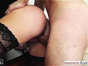 big-chested platinum-blonde Nikki Benz take cock