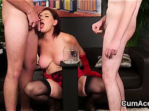 insane looker gets jizz explosion on her face deepthroating all the jism