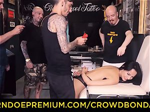 CROWD bondage - bdsm first-ever time practice for latina