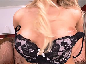 Mia Malkova peels off off and fingers her edible vagina