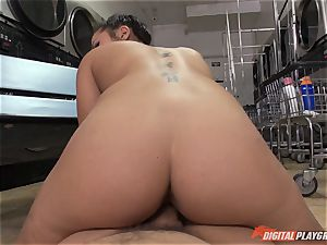 Caught on camera in the laundrette with wondrous babe Morgan lee