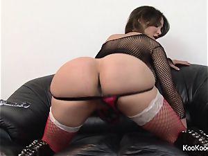 pornographic star Amy Anderssen pokes herself in underwear
