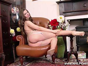 Stella plays with large melons twat in retro nylon underwear