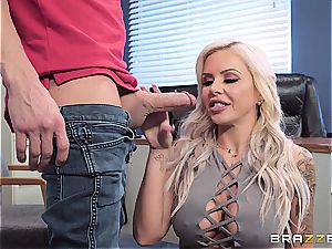 The boss' ultra-kinky wifey gets a flow of jism served in her vagina