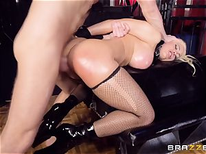caged lubricated up honey Luna star hammered pouch deep in the arse