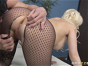 platinum-blonde secretary Kagney Linn Karter romping her naughty partner