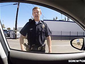 CAUGHT! dark-hued gal gets blasted deep throating off a cop