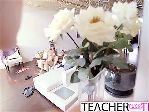 sizzling schoolteacher Tricks schoolgirls Into threesome screw