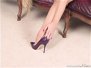 light-haired peels off off lingerie and solos in nylons and stilettos