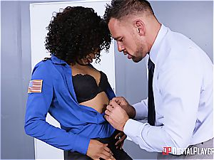 whorish law-woman obeys to underling in the arrest