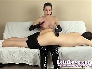 female dominance smacking his bootie with my hairbrush mitts..