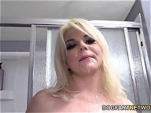 Alice adorn Gets group-fucked By ebony boys