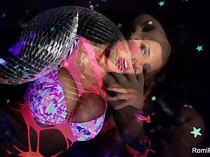 Romi plays w disco ball then rams fucktoys in her puss