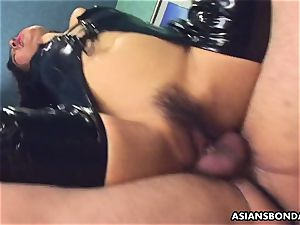 porking her moist vag as she wears her PVC boots