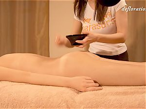 Elena being oil massaged by another damsel