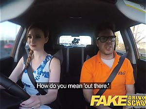 faux Driving school Nerdy red-haired teenager schoolgirl