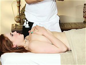 wonderful redhead Siri gets his load on her face