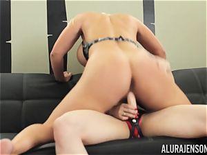 Alura Jenson muff crammed with strap dildo heavy bulky dame Brandi May