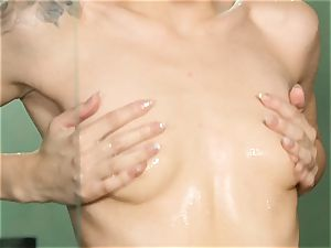 Elsa Jean warm getting off in the douche
