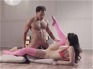 Lana Rhodes sits her vagina on a big black cock