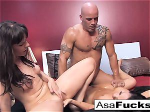 Asa and Dana crew up for a hot 3some with Derrick