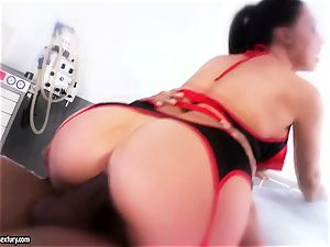 gorgeous babe Aletta Ocean is gobbling a dark-hued pecker like a monster noodle