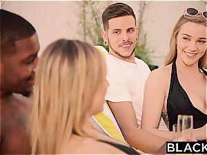 Kendra Sunderland seduced by Jillian Janson and her big black cock beau