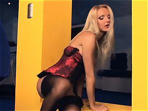 Victoria strokes in stocking and high stilettos