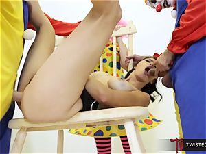 Dana Vespoli romped by creepy giant schlong clowns