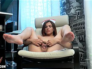 Erika fondles her unshaved cooter to jizz
